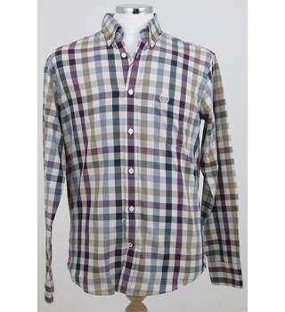 NWOT M&S Blue Harbour - Size S - Beige, Burgundy, Blue Chequered Shirt