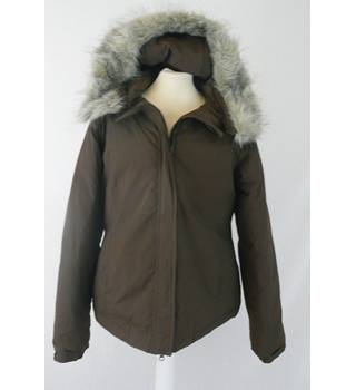 Rarespecies  size 14  brown duck down padded parka - detachable fur trim