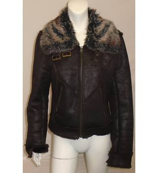 REDUCED So Funky - Size: 12 - Brown - Faux Fur Jacket