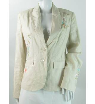 Coast - Size: 12 - Beige - Linen Embroidered Suit Jacket