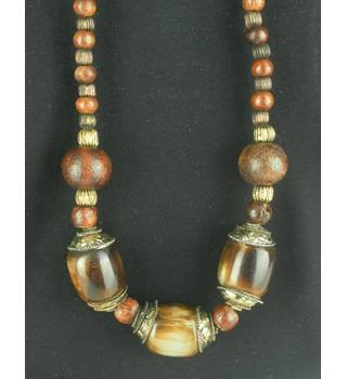 Statement Wooden Brown Necklace With Brass And Copper Coloured Beads