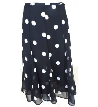 M&S Collection Size: 8 Black with White Dots A-Line Skirt