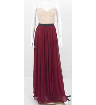 Coco's Fortune Size 12 Full Length Nude and Burgundy Dress