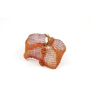 Handmade brown & orange wire weave bracelet
