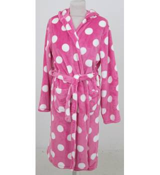NWOT M&S Kids, age 1-2 years pink & white spotted hooded dressing gown