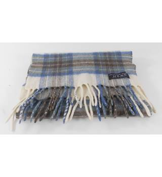 Cream with Blue/Green Check Cashmere / Wool Scarf