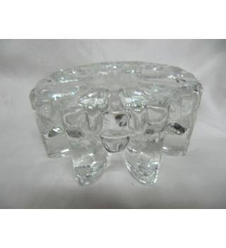 "Glass Stand Candle  Heavy 5"" Diameter Not specified"