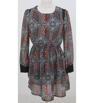 Atmosphere - Size: 10 - Grey, Red, Black, Blue patterned Long Sleeve Dress