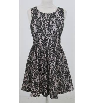 H&M - Size: S - Black and Tan Lace style Sleeveless  Dress