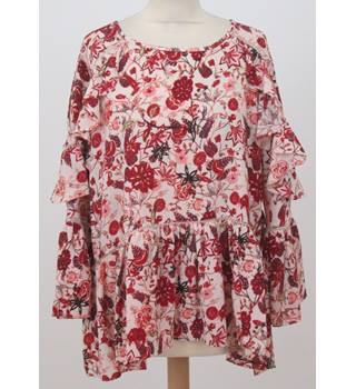 NWOT M&S - Size: 16 - Oversized Red Floral and Ruffled Top