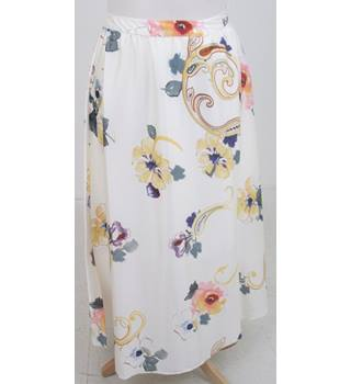 NWOT Per Una, size 14R cream with orange, purple and grey floral print skirt