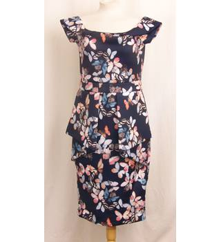 BNWT Missi Size 16 Navy Blue with Butterfly Print Knee Length Dress