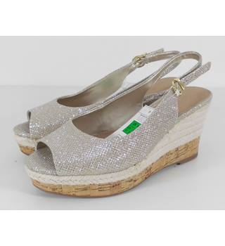 M&S Marks & Spencer Wider Fit Size 3.5 Silver Sparkle Platform Wedge Sling Back shoes