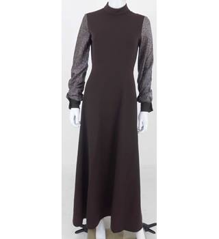 Vintage 1970's Unbranded Size: 8 Brown & Silver Long Dress