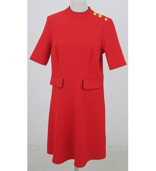 NWOT M&S- Size: 14 - Red with Gold Button Detail on Epaulette Dress