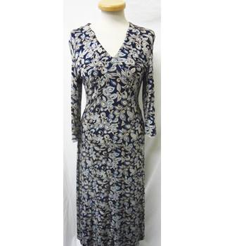 M&S Limited Collection - Size: 10 - Blue with flowery pattern - Knee length dress