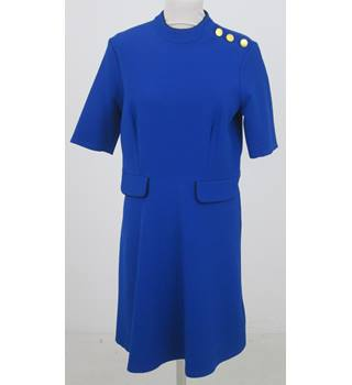 NWOT M&S- Size: 14 - Blue  with Gold Button Detail on Epaulette Dress