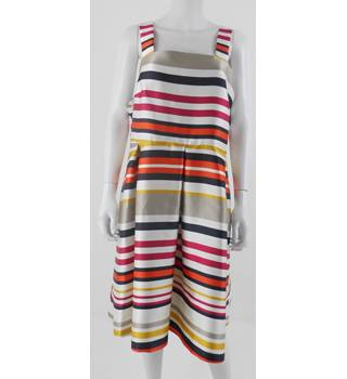 NWOT M&S Size 20 Cream with Navy, Orange and Pink Horizontal Stripes Knee Length Dress