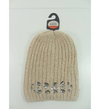 M&S Marks & Spencer Kids Size: 6 - 10 Years Dusky Pink Bejewelled Beanie Hat