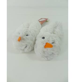 M&S Kids Size: 3-6 Months White Snowman Slippers