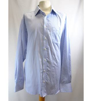 Marks & Spencer Size: 17 Regular Fit Long Sleeved White Striped Shirt