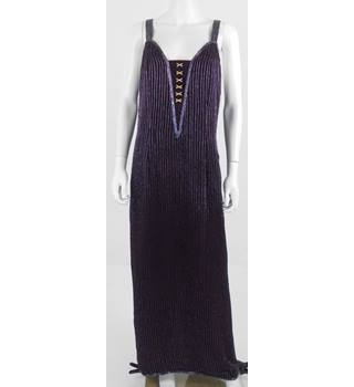 Vintage 1980's After Six by Roanld Joyce Full Length Purple Dress With Hand Beading Size 16