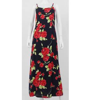 Vintage 1990's Laura Ashley Spaghetti Strap Black Dress With Rose Print Size 12