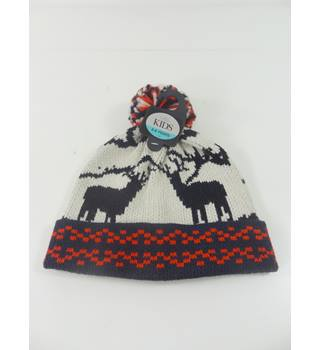 M&S Kids Size: 3 to 6 Years Stag Design Bobble Hat