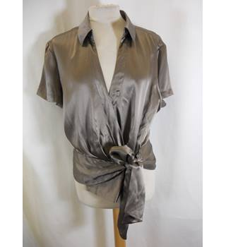Jasper Conran - Size: 16 - Brown - Wraparound Silk top