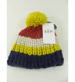 M&S Kids Size: 6 to 10 Years  Multi-coloured Stripe Bobble Hat