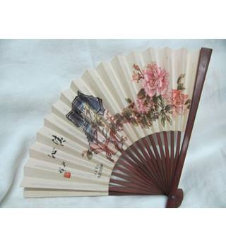 Chinese Fan Woo0d Paper Floral Image China