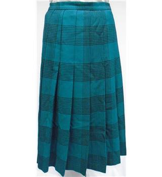 James Pringle - Size 16 - Teal Blue Checkered Patterned Calf-Length Pleated skirt