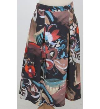 NWOT M&S - Size: 12 - Mixed Brown, Red, Green Floral  Patterned Mid length Skirt