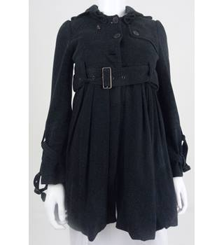 All Saints Spitalfields Size 8 Black Sporty Jersey Coat/ Cropped Jacket