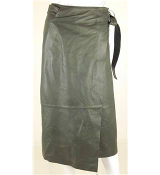 NWOT M&S Autograph Exclusives Size 6 Forest Green Leather Skirt