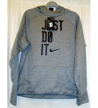 BNWT Nike  Size Boys XL  Grey marl  Hoodie with text 'Just do it' printed on front