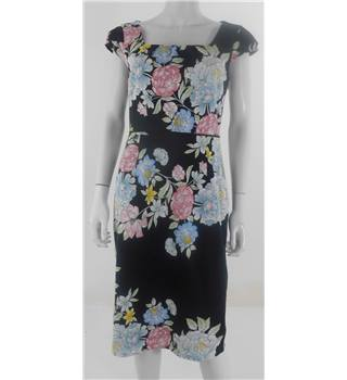 Monsoon Size 12 Black with Bright Floral Knee Length Dress