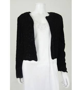 Vintage 1990s Louisa Calvino Size 14 Black Fully Beaded Evening Cropped Jacket