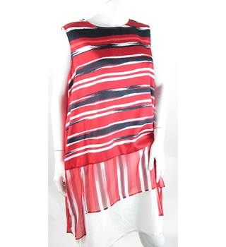 BNWT Per Una - Size: 18 - Red With Black & White Stripes - Sleeveless Top