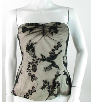 Coast - Size: 14 - Black Lace Over Pale Beige - Bustier