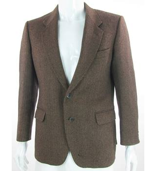 "Sidi by GFT (Selfridges) - Size: 39.5"" - Brown & Black Herringbone - Cashmere Single Breasted Suit Jacket"