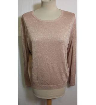 NWOT M&S, size 14 pink metallic fine knit jumper