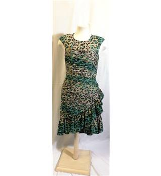 Whistles size: 8 cream / green mix print silk cocktail dress