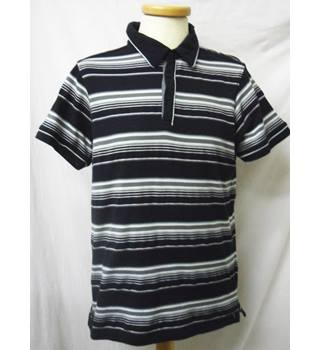 Jasper Conran - Size: L - Black with grey and white stripes  - Polo shirt