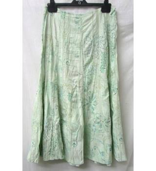 Per Una - Size: 14 Regular Length - Mint Green with Floral Pattern - Long skirt