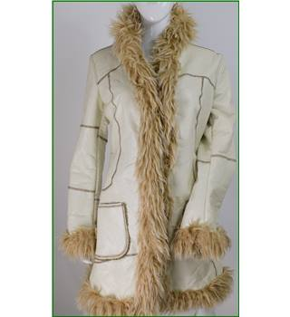 Miss Sixty size: 14 cream faux fur trim coat