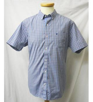 Pierre Cardin - Size: L - Blue checkered - Short sleeved