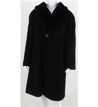 M&S Marks And Spencer Size L Black with Faux Fur Collar Coat