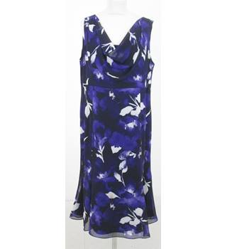 Jacques Vert - Size: 18 - Black  and purple floral dress