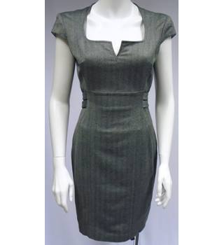 Ted Baker - Size 2 (Size 10) - Grey and Brown - Patterned Sheath Dress